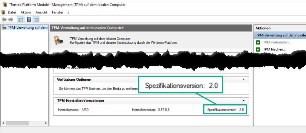 Das Bild zeigt die Windows TPM Console mit der Spezifikationsversion von TPM 2.0